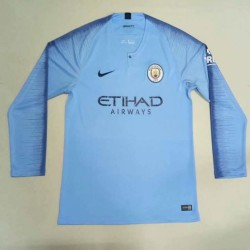 Manchester City 2018-19 Home Long Sleeve Soccer Jersey